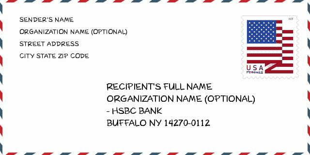 HSBC BANK , BUFFALO, NY 14270-0112, USA | New York United States ZIP